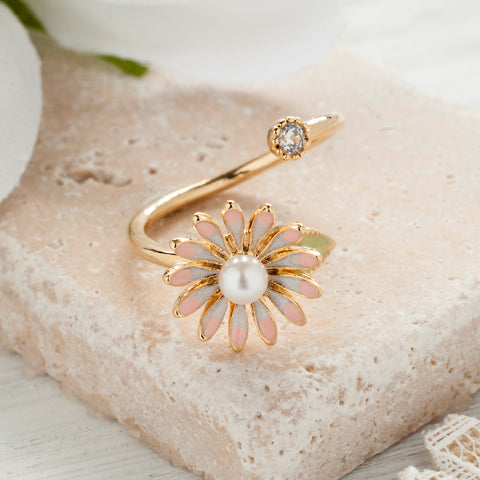 Secret Garden Flower Ring with Pearl & Crystal