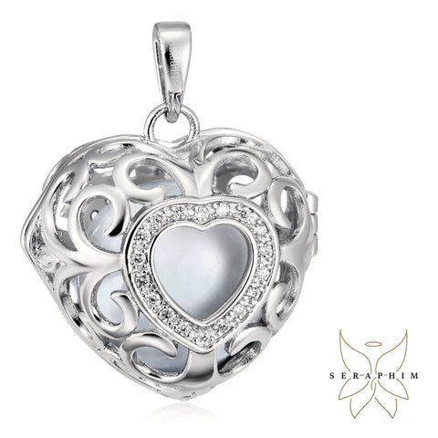 Seraphim Silver Heart Holder With Zirconia & White Sound Ball