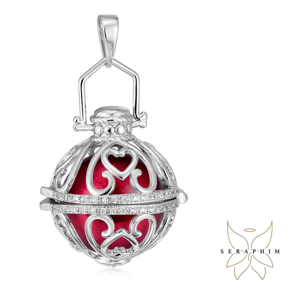 Seraphim Silver Ball Holder With Heart Design & Zirconia & Red Sound Ball