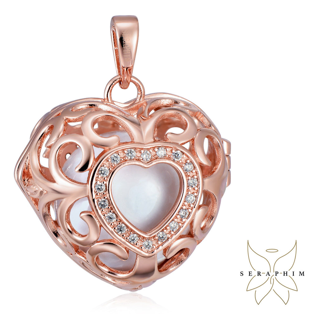 Seraphim Rose Gold Plated Heart Holder With Zirconia & White Sound Ball