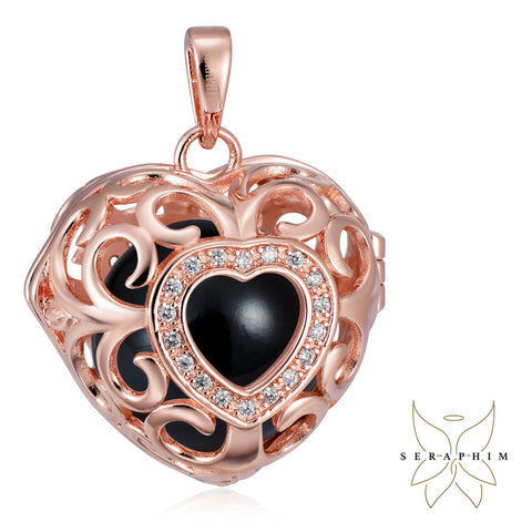 Seraphim Rose Gold Plated Heart Holder With Zirconia & Black Sound Ball
