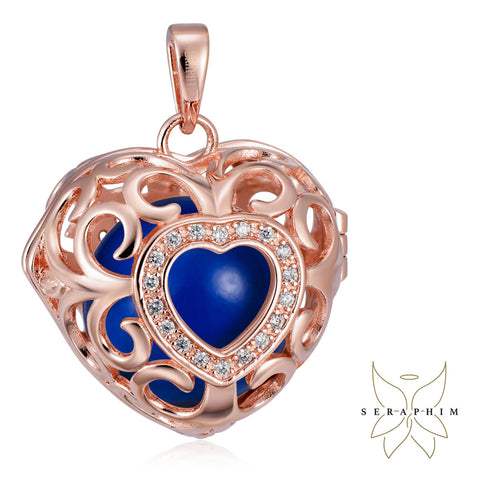 Seraphim Rose Gold Plated Heart Holder With Zirconia & Blue Sound Ball