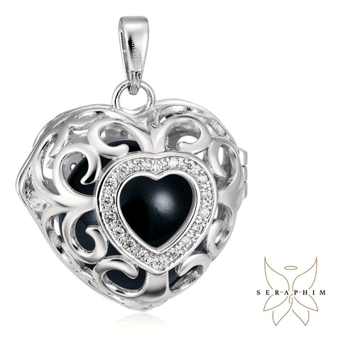Seraphim Silver Heart Holder With Zirconia & Black Sound Ball