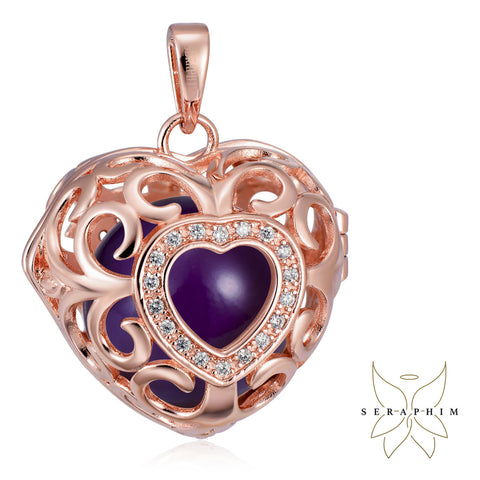 Seraphim Rose Gold Plated Heart Holder With Zirconia & Purple Sound Ball