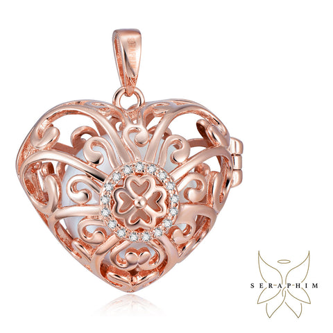 Seraphim Rose Gold Plated Heart Holder With Four Leaf Clover, Zirconia & White Sound Ball