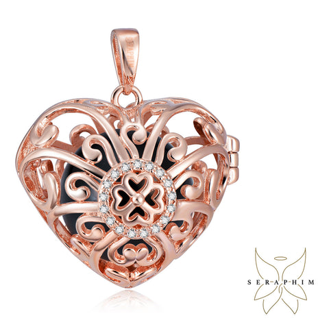 Seraphim Rose Gold Plated Heart Holder With Four Leaf Clover, Zirconia & Black Sound Ball