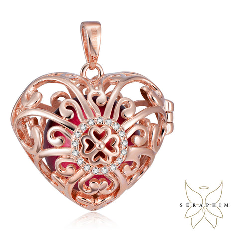 Seraphim Rose Gold Plated Heart Holder With Four Leaf Clover, Zirconia & Red Sound Ball