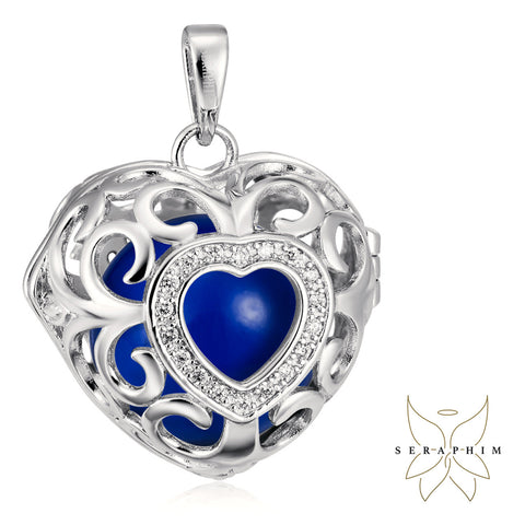 Seraphim Silver Heart Holder With Zirconia & Blue Sound Ball