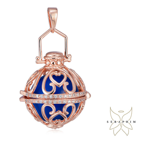 Seraphim Rose Gold Ball Holder With Heart Design & Zirconia & Blue Sound Ball