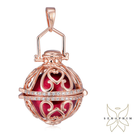 Seraphim Rose Gold Ball Holder With Heart Design & Zirconia & Red Sound Ball