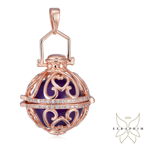 Seraphim Rose Gold Ball Holder With Heart Design & Zirconia & Purple Sound Ball