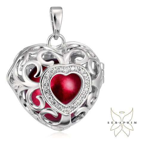 Seraphim Silver Heart Holder With Zirconia & Red Sound Ball