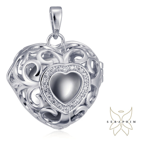 Seraphim Silver Heart Holder With Zirconia & Silver Sound Ball