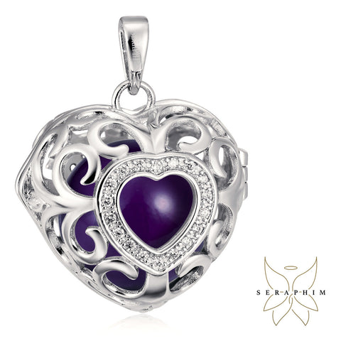 Seraphim Silver Heart Holder With Zirconia & Purple Sound Ball