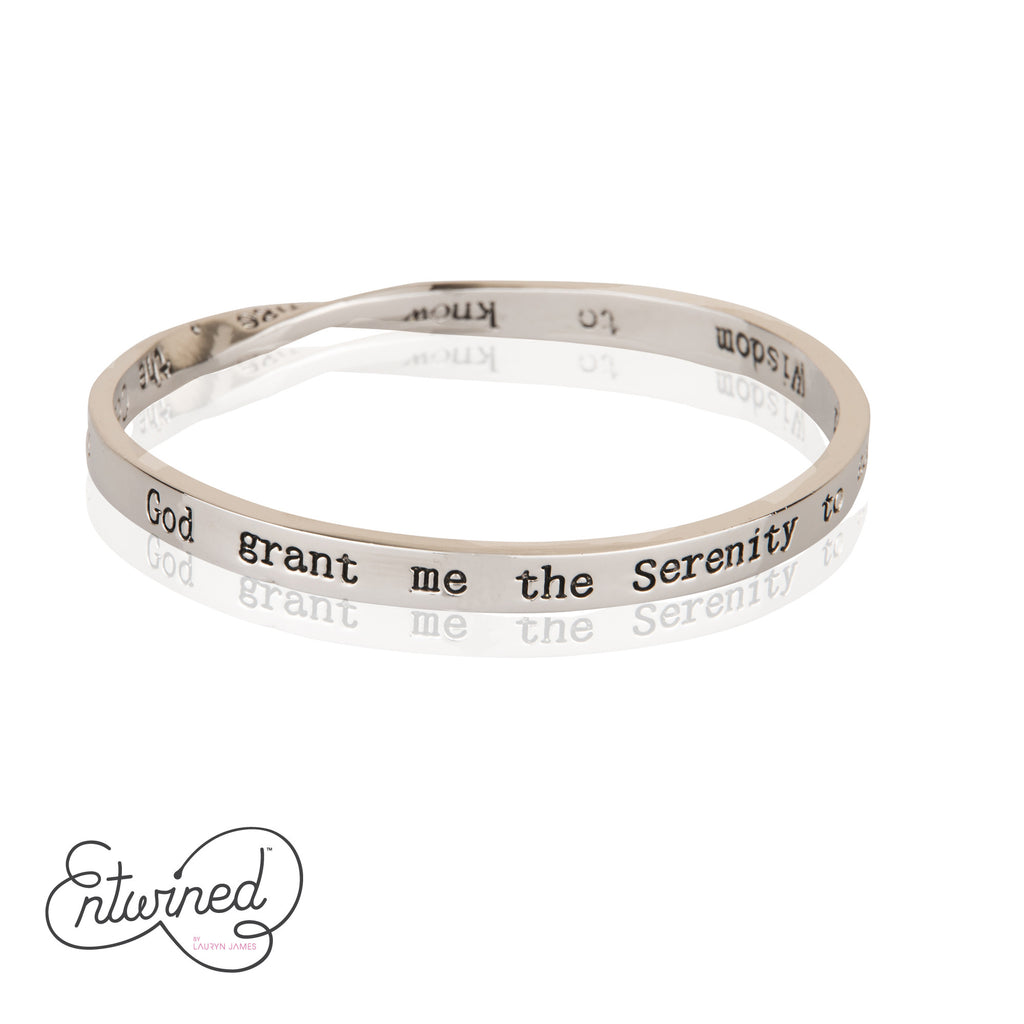 ENTWINED SERENITY PRAYER SILVER MESSAGE BANGLE
