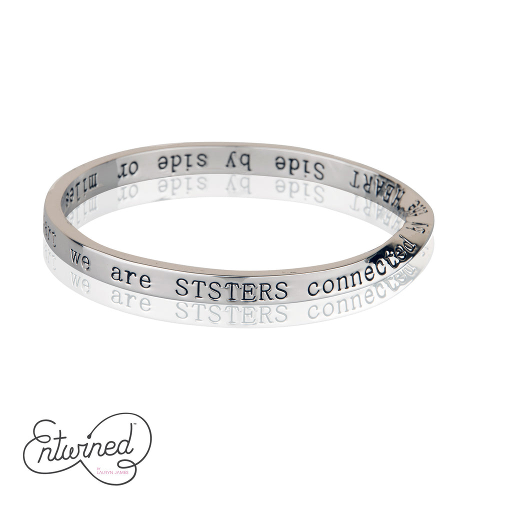 ENTWINED SISTERS SILVER MESSAGE BANGLE