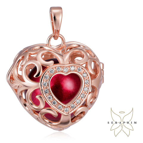 Seraphim Rose Gold Plated Heart Holder With Zirconia & Red Sound Ball