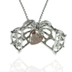 Sterling Sliver Bird Cage & Heart Necklace
