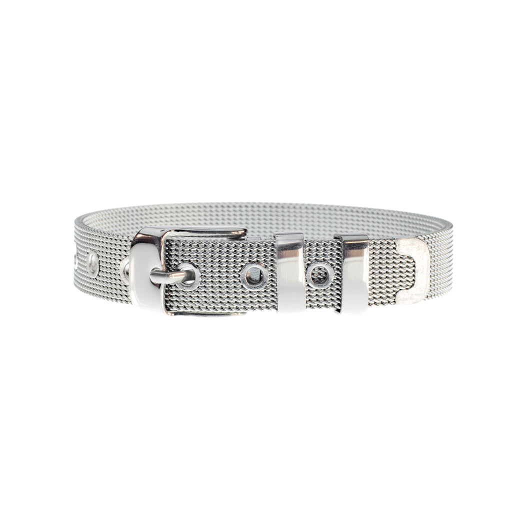 Buckle Up Silver Mesh Charm Bracelet
