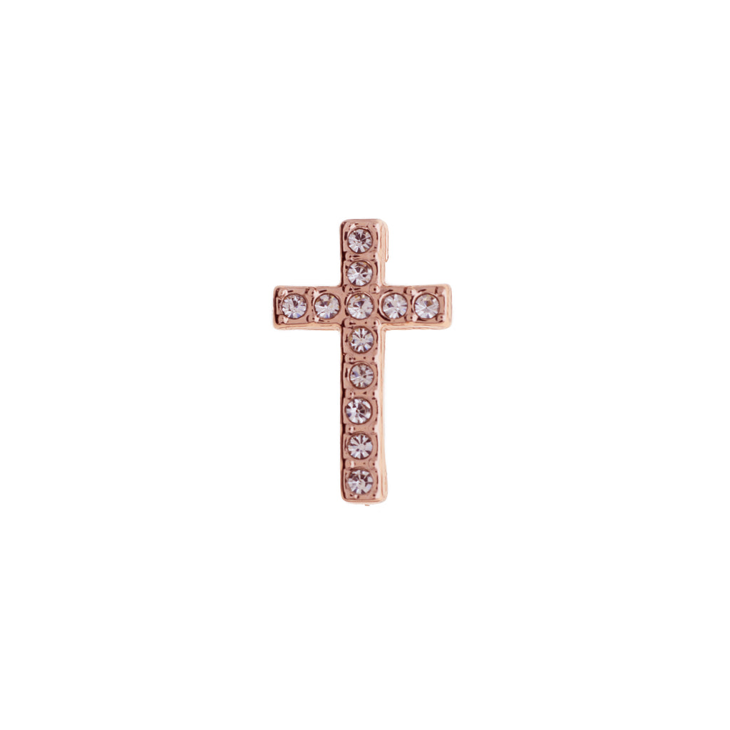 Buckle Up Rose Gold Cross With Crystals