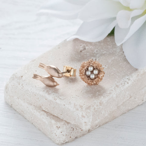 Secret Garden Golden Birds & Nest Earrings