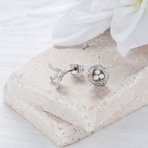 Secret Garden Silver Bird & Nest Earrings