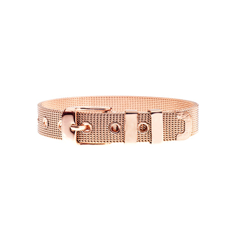 Buckle Up Rose Gold Mesh Charm Bracelet