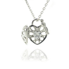 Sterling Silver with Swarovski Crystals Heart & Key Necklace
