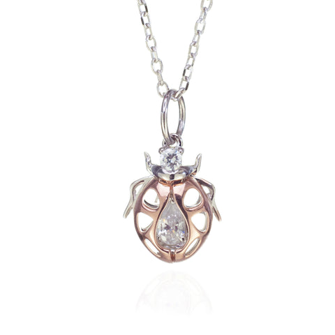 Ladybird Necklace in Sterling Silver and Rose Gold
