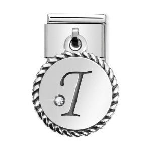 Classic Silver & CZ Letter I Drop Charm