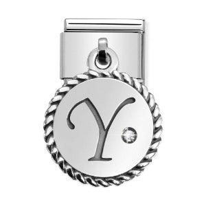 Classic Silver & CZ Letter Y Drop Charm