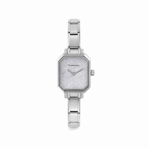 Paris Silver Glitter Rectangular Watch