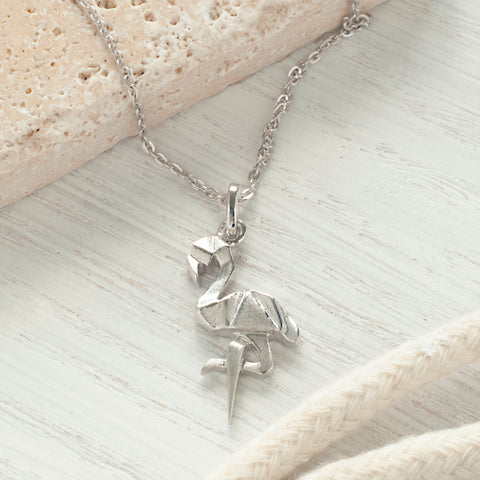 Sterling Silver Origami Flamingo Necklace