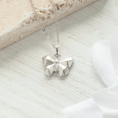 Sterling Silver Origami Butterfly Necklace
