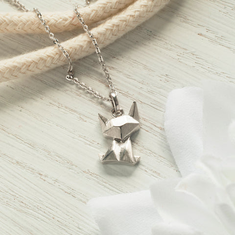 Sterling Silver Origami Cat Necklace