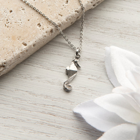Sterling Silver Origami Seahorse Necklace