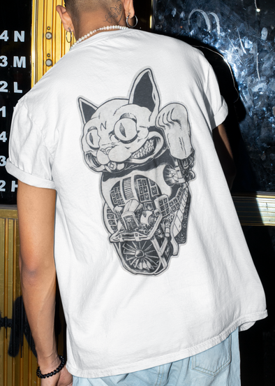 ST!NK #SteamPunkLuckyCat, Back Print - Men Shirt_White