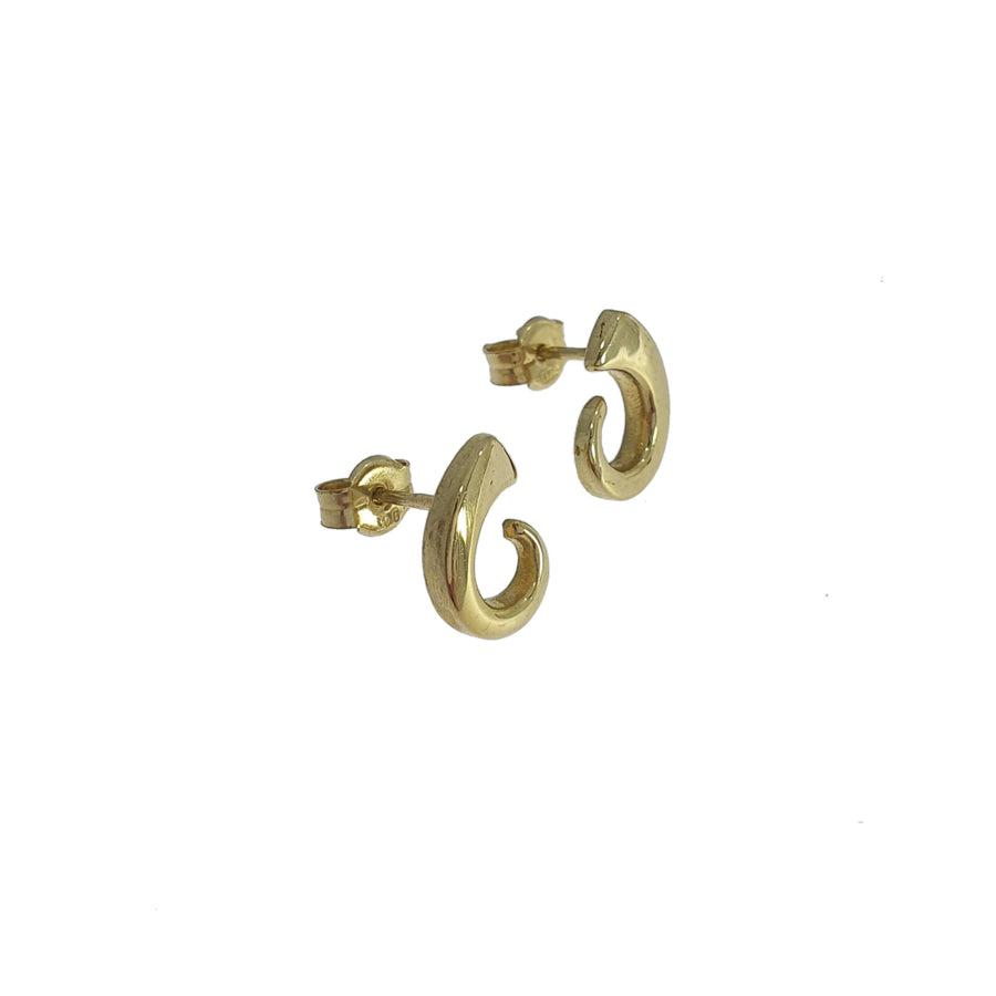 9ct Yellow Gold Swirl Earrings