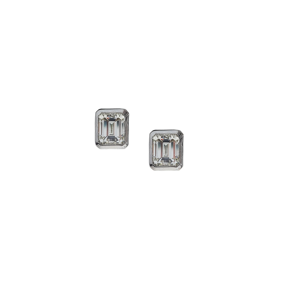 1.14ct Emerald Cut Diamond Earrings