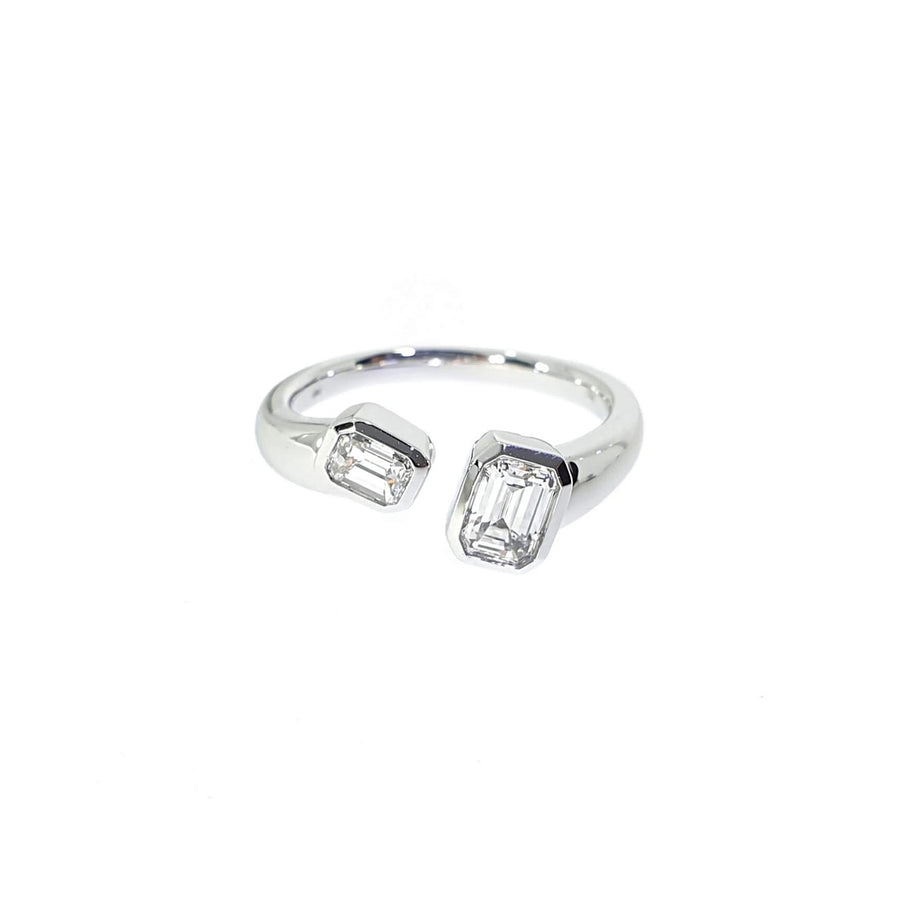 Emerald Cut Diamond Twist Ring