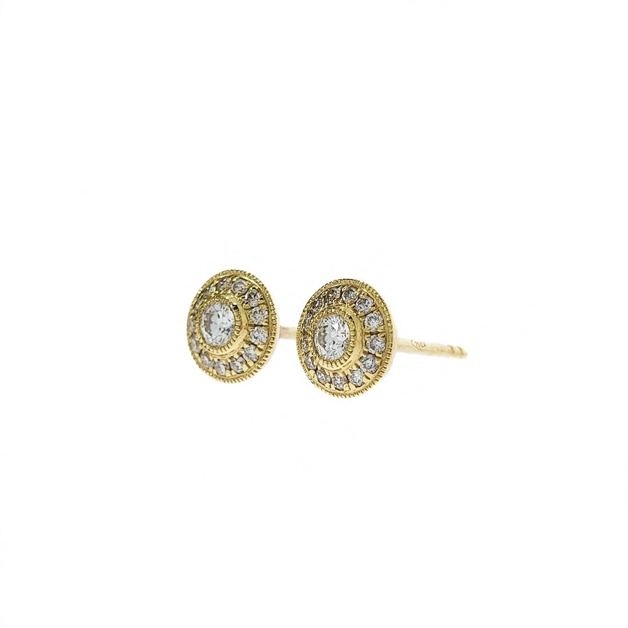 Yellow Gold Diamond Halo Studs