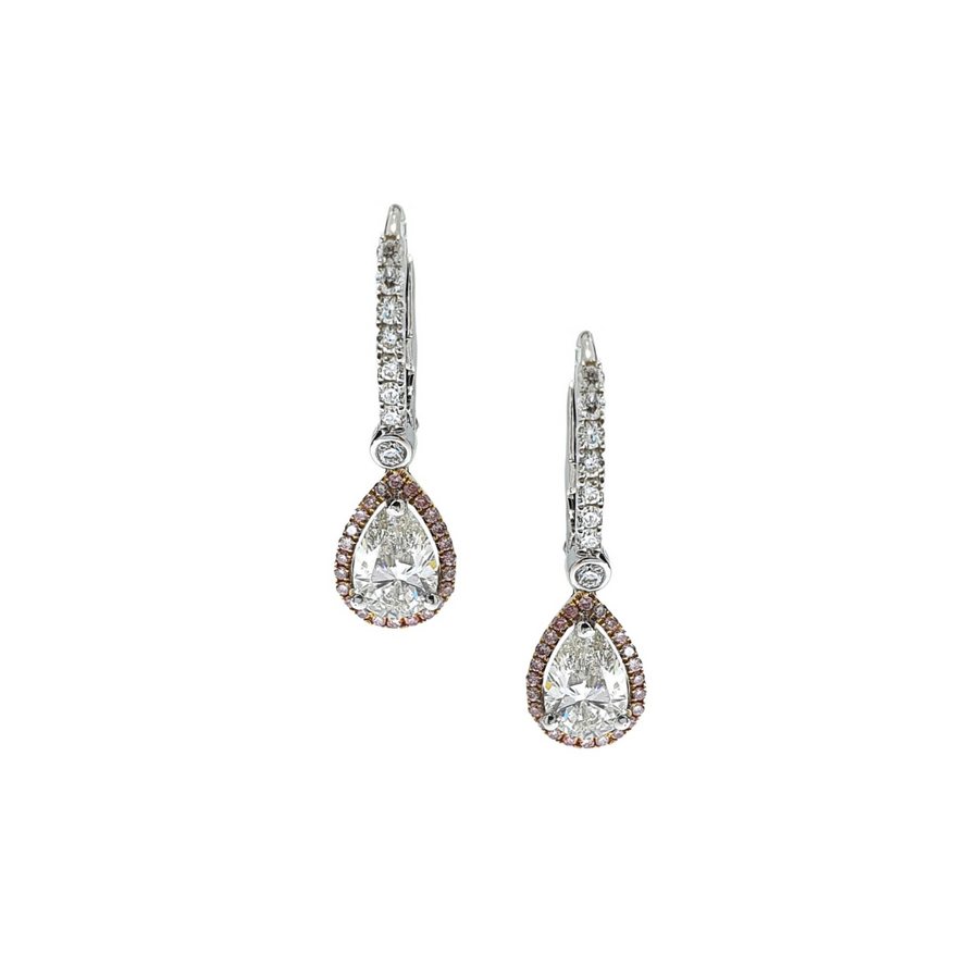 Pear Cut Diamond Drop Earrings