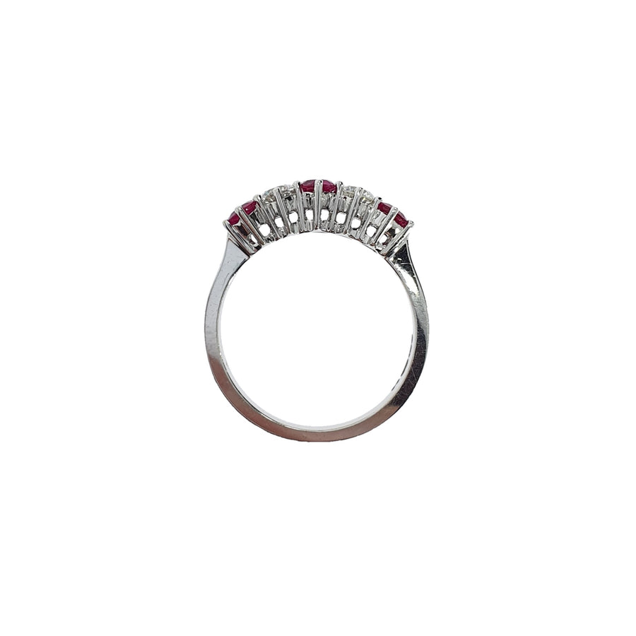 Ruby & Diamond Half Eternity Ring