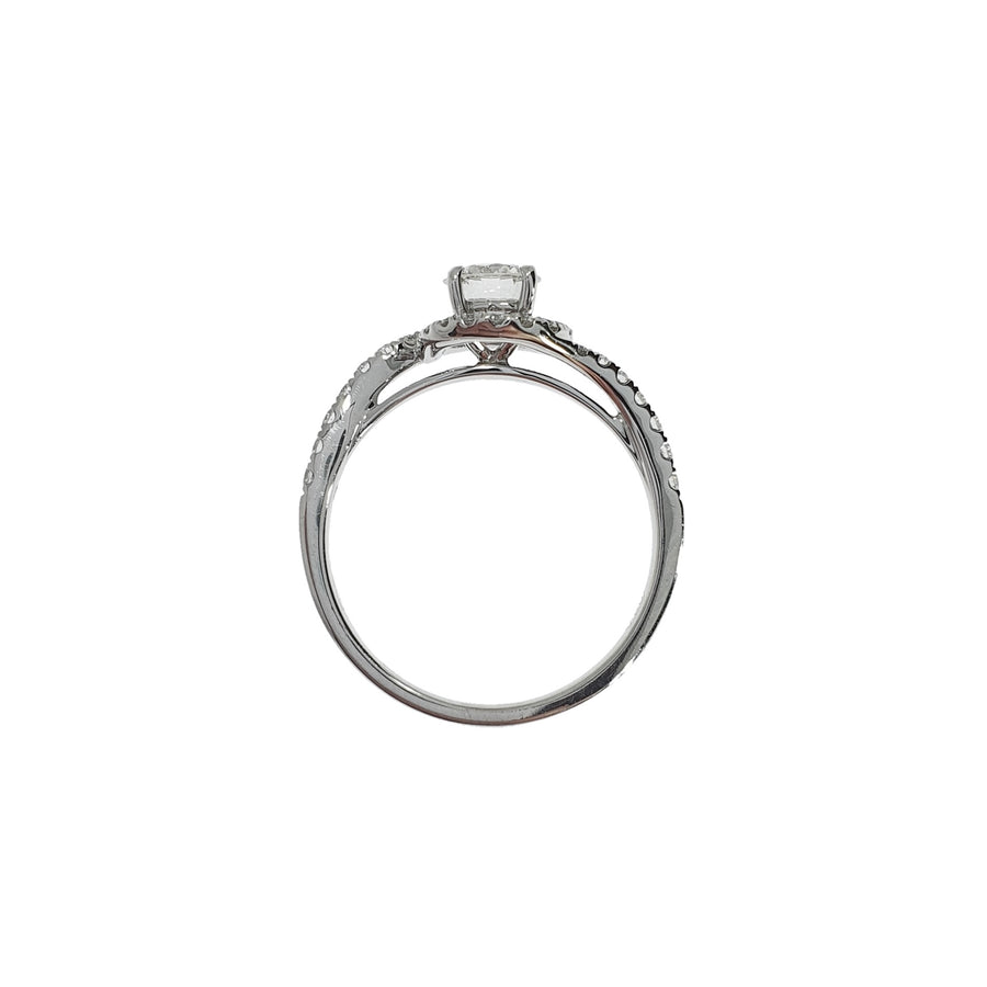 Solitaire Diamond Swirl Ring