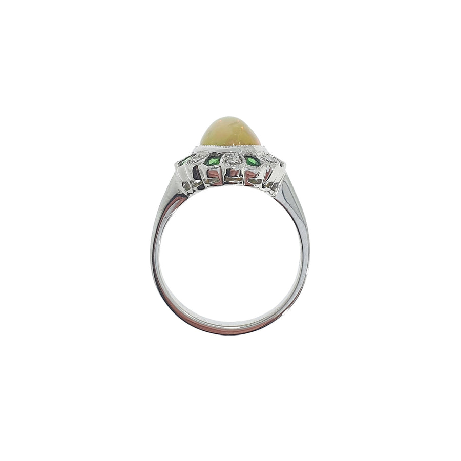 Vintage Style Opal & Diamond Ring