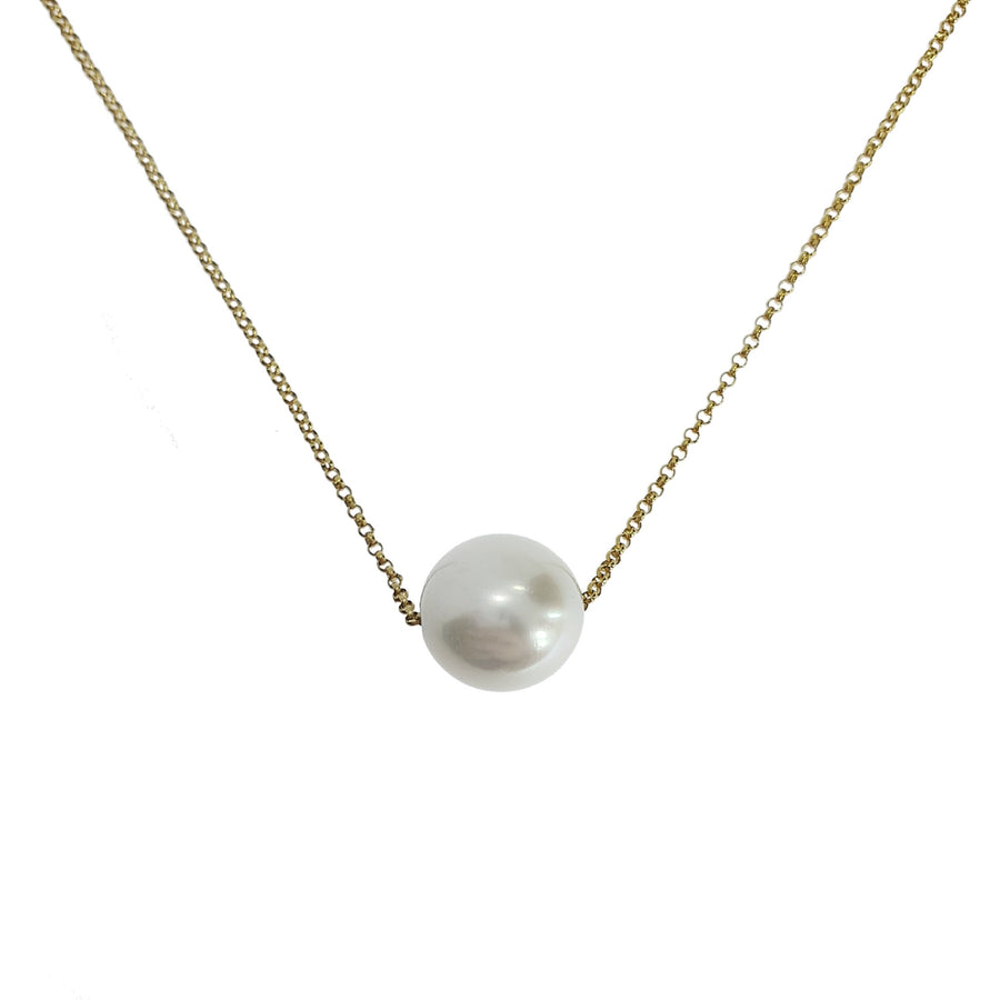 18ct Gold & Single Pearl Necklace