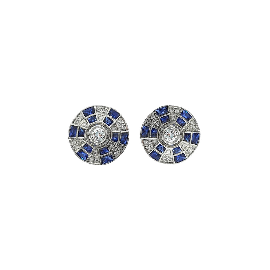 Sapphire & Diamond Target Earrings