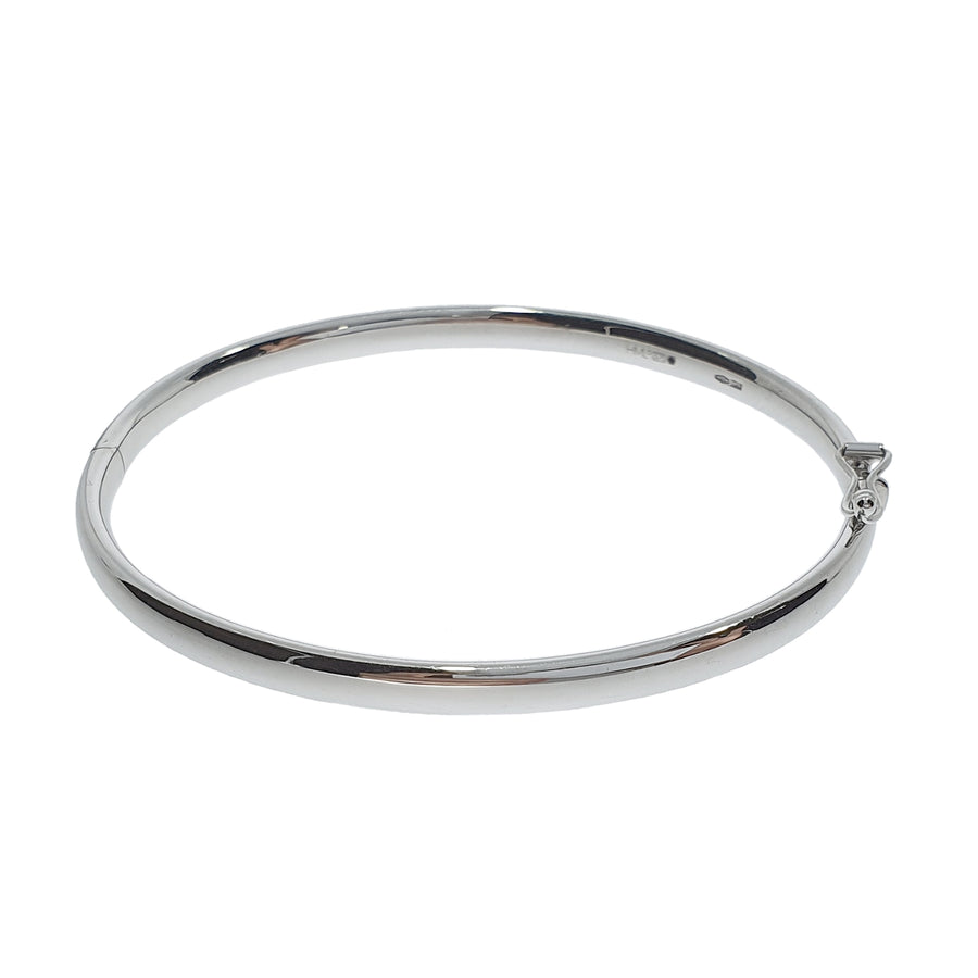 9ct White Gold Solid Oval Bangle