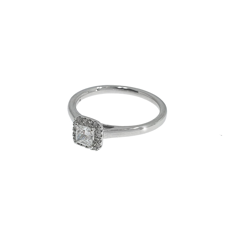 Platinum Princess Cut Halo Ring