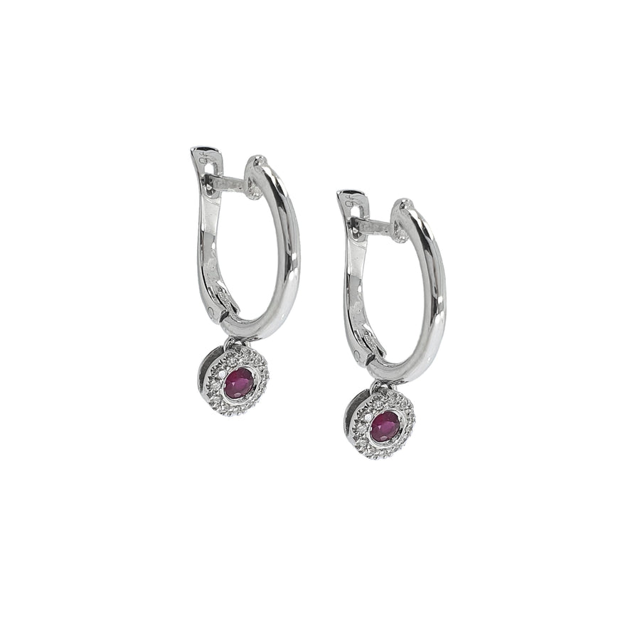 Ruby & Diamond Cluster Drop Earrings